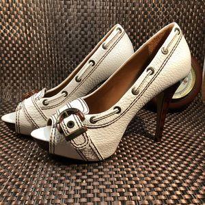 Zara white leather platform heels